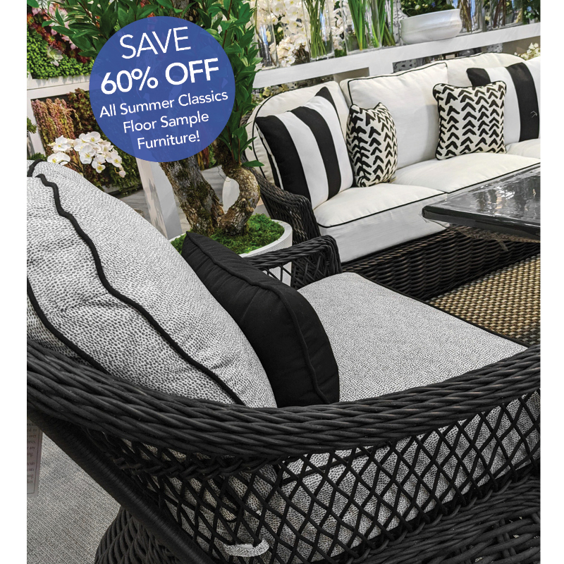 Now save 60% off all Summer Classics floor sample patio furniture!