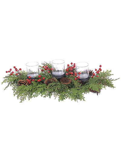 Aldik Home's Festive Christmas Decor - Triple Cedar Berry Candle Holder
