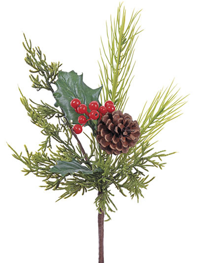 Aldik Home's Festive Christmas Stems - Holly Berry Pine Cone