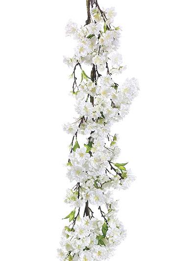 Silk flowers cherry blossom garland 4 ft white aldik homes realistic silk flowers cherry blossom garland mightylinksfo