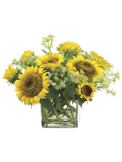 Aldik Home's Realistic Silk Flowers - Sunflower Arrangement