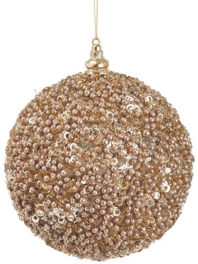 Christmas Trees, Floral & Decor : Ball Glitter Orn 6 in. Rose Gold