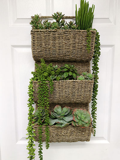 Aldik Home's Stunning Silk Floral Arrangements - Succulents in Wall Basket