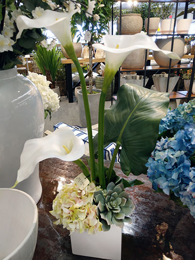 Aldik Home's Stunning Silk Floral Arrangements - Calla Lily and Succulent in White Cube
