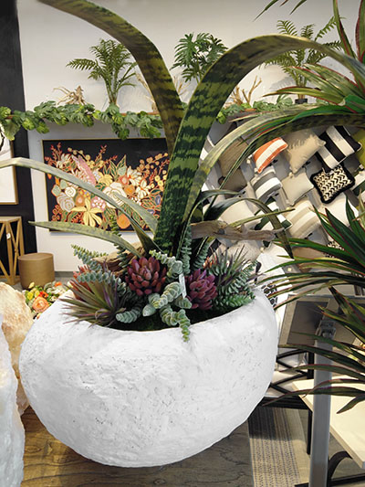 Aldik Home's Stunning Silk Floral Arrangements - Succulents in White Bowl