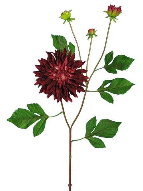 Silk flowers dahlia garden stem 37 in burgundy aldik homes realistic silk flowers dahlia stem mightylinksfo