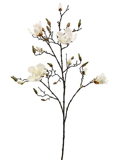 Silk flowers magnolia spray 40 in cream aldik homes realistic silk flowers magnolia spray mightylinksfo
