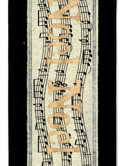 Aldik Home's Luxurious Ribbon - Music Notes Noel