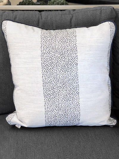 Aldik Home's Luxurious Outdoor Throw Pillows - Dotted Striped Navy w/ Welt
