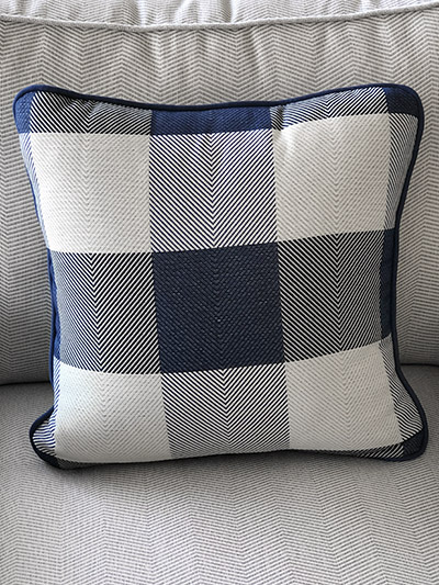 Aldik Home's Luxurious Outdoor Throw Pillows - Plaid Denim w/ Welt
