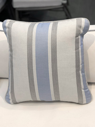Aldik Home's Luxurious Outdoor Throw Pillows - Coastal Stripe Chambray