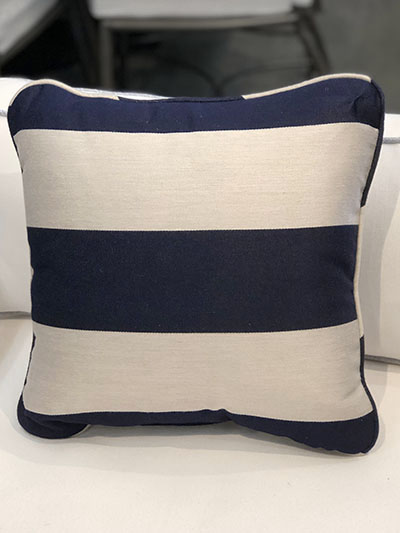 Aldik Home's Luxurious Outdoor Throw Pillows - Cabana Stripe Navy