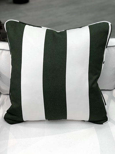 Aldik Home's Luxurious Outdoor Throw Pillows - Cabana Stripe Mallard