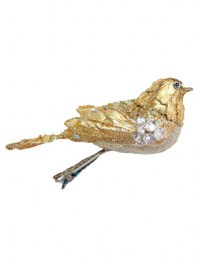 Aldik Home's Eclectic Christmas Ornaments- Beaded Jeweled Bird Clip