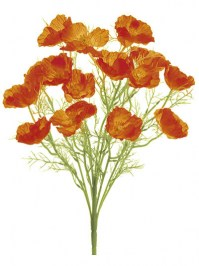 Aldik Home's Realistic Silk Flowers - Poppy Bush