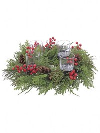 Aldik Home's Festive Christmas Decor - Cedar Pine Berry Centerpiece