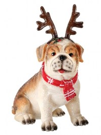Aldik Home's Festive Christmas Decor - Bulldog w/ Reindeer Horns
