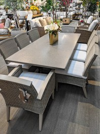 Aldik Home's Summer Classics Patio Furniture Floor Samples - Superstone Table w/ Astoria Chairs Set