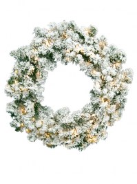 Aldik Home's Wonderful Wreaths & Garlands - Flocked Norway Wreath
