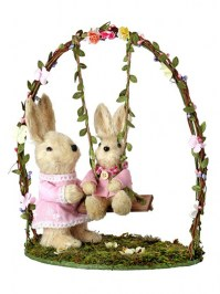 Aldik Home's Lovely Easter Decor - Bunny Mom and Baby on Swing