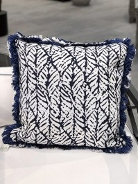 Aldik Home's Luxurious Outdoor Throw Pillows - Treescale Indigo w/ Fringe