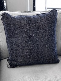 Aldik Home's Luxurious Outdoor Throw Pillows - Pebble Tex Navy w/ Welt