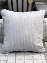 Aldik Home's Luxurious Outdoor Throw Pillows - Pinstripe Chambray w/ Welt