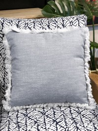 Aldik Home's Luxurious Outdoor Throw Pillows - Adena Chambray w/ Fringe