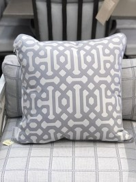 Aldik Home's Luxurious Outdoor Throw Pillows - Fretwork Chambray w/ Welt