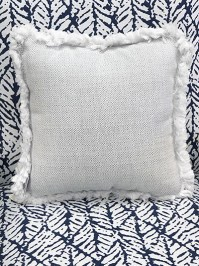 Aldik Home's Luxurious Outdoor Throw Pillows - Woven Pewter w/ Fringe