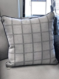 Aldik Home's Luxurious Outdoor Throw Pillows - Stitched Grid Chambray