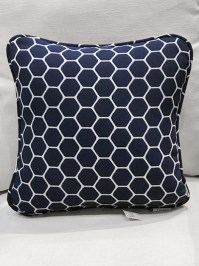 Aldik Home's Luxurious Outdoor Throw Pillows - Wire Indigo w/ Welt