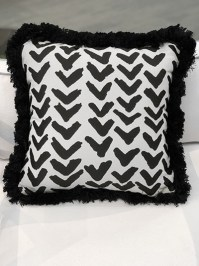 Aldik Home's Luxurious Outdoor Throw Pillows - Formation Midnight w/ Fringe