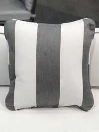 Aldik Home's Luxurious Outdoor Throw Pillows - Cabana Stripe Stone